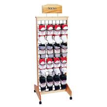 Mercadorias de uso diário Merchandising Custom 4-Caster Floor Slatwall Meias de madeira Calçado Display Racks