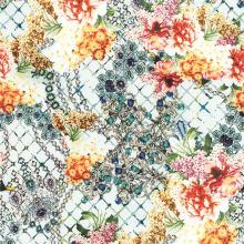 Tela de seda impresa digital del estampado de plores de la tela de la ropa (XF-0068)