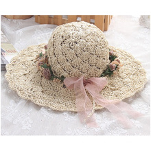 Sommer-neuer Wreath-Hut, reines manuelles Sun entlang Strohhut