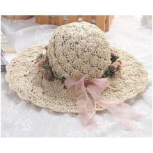 Verão nova grinalda chapéu, puro manual sol ao longo do chapéu de palha
