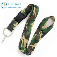 High quality no minimum order custom polyester heat transfer army military uniform logo sublimation printed camouflage lanyard