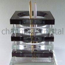 New design clear and black crystal office set with double pen holder and heart shaped clock as office table stationery souvenir