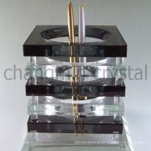 Novo design de escritório de cristal claro e preto conjunto com suporte de caneta dupla e coração em forma de relógio como lembrança de papelaria de mesa de escritório