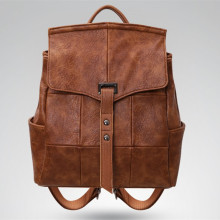Retro soft leather large capacity backpack