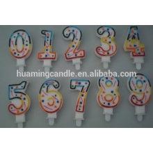 Huaming Venta al por mayor de cera de parafina colorida numeral vela de cumpleaños