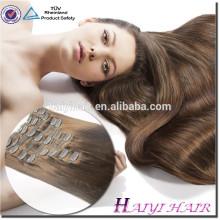 Venta caliente directa de la fábrica al por mayor 120G 140G 160G 180G personalizado doble grueso extremos remy Remy Clip en la extensión del pelo