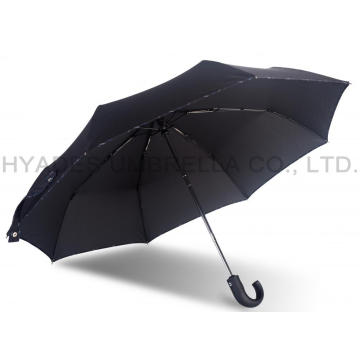 Hitam Mens Folding Umbrella Windproof Hook Handle