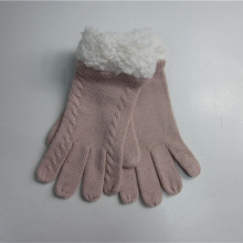 Lady Pink Cable Knit Handskar