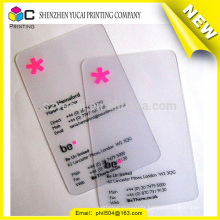 Fashionable design transparent plastic printing plastic business card