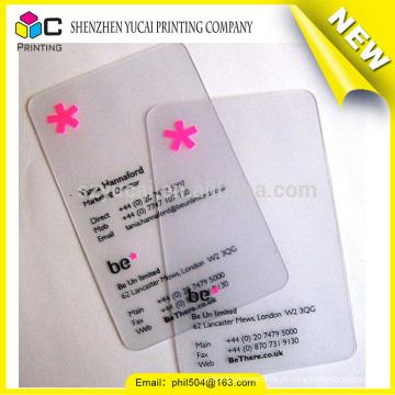 Modische Design transparente Kunststoff Druck Kunststoff Visitenkarte