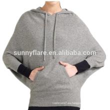 Suéter hecho punto de alta calidad de la cachemira de las mujeres de las mangas del Batwing de la moda