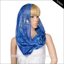 Лучшие продажи женщин Loop бесконечность шарф печать вуаль шарф шеи с блестками дизайн