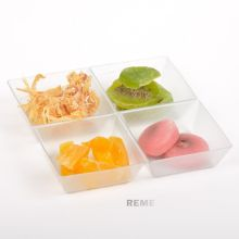 Plastic Disk Disposable Saucer Square 4 Compartment Tray