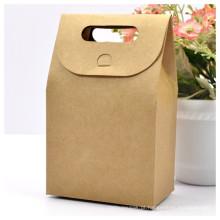 Caixa de saco artesanal marrom com alça