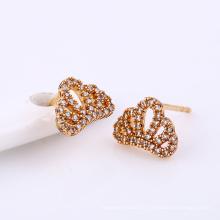24993-Xuping charmoso banhado a ouro brincos de coroa de jóias