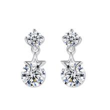 Fashion Earring Designs double cz pierres goutte avec une étoile en or blanc boucles d'oreille plaqué or acceptent les bijoux personnalisés