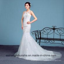 Elegant Mermaid Wedding Dress Sleeveless Robe with Lace