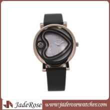 Montre en alliage de montre des femmes de la montre 2016 de mode avec la bande en cuir