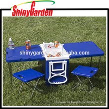 Multi Function Outdoor Portable Rolling Plastic Ice Cooler Table And Chairs
