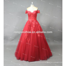 ED Bridal Off Shoulder Tulle Vermelho com Lace Applique Lace Up Alibaba Prom Dress