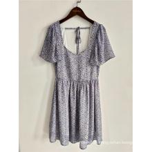 Летнее платье Женское платье с цветочным принтом и V-образным вырезом