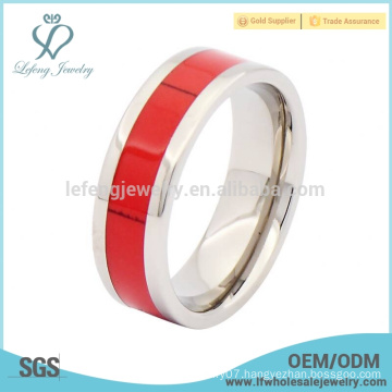 Titanium and wood silver wedding band ring,mens red wooden ring