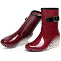 2020 New Fashion Design Wholesale Red High Heel  Rain silicone Boots for Women