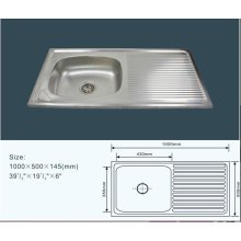 Jnj825 100*50*14.5 Cm Cheap Single Bowl Stainless Steel Kitchen Sink with Drain Board