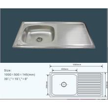 Jnj825 100*50*14.5 см дешевые одной миски из нержавеющей стали Кухонная раковина со сливом доска