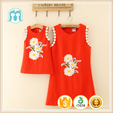 Rouge En Gros femmes adultes maman et enfants pas cher en vrac pleine impression coton mode design fille de fleur robe pour la vente en gros