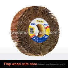roue à lamelles abrasive avec alésage