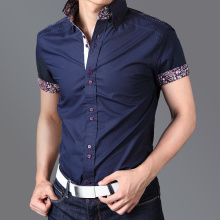 Marineblau Kundenspezifische Baumwollmänner Shirts