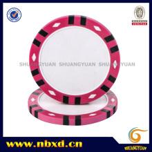 14G 3 tonos de doce franjas de diamante de impresión de arcilla Poker Chip