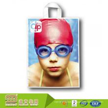 Custom design gravure printing biodegradable and compostable soft loop handle plastic bag