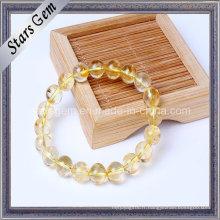 Perles de citrines à quartz jaune naturel