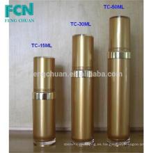15ml 30ml 50ml Envase cosmético de plástico de plástico de lujo botella loción de lujo