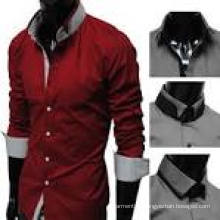 100% Baumwolle Stand Collar Kurzarm Herren Kleid Shirt