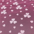 100% polyester red flower flocking printed tulle fabric