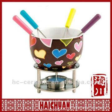 Ceramic chocolate fondue warmer, chocolate fondue set