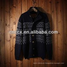 12STC0586 mens elegante casaco de tricô padrão camisola