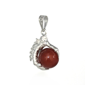 Charm Jewelry Carnelian 15MM Sphere Dragon Ball Claw Pendant