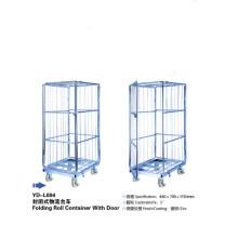 Gaiolas de armazenamento de metal de aço de dobramento de quatro rodas