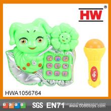 (Свет и музыка) Электрический пластиковый детский игрушка Музыкальный телефон с микрофоном