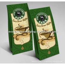 Sacs d'emballage de grains de café de papier d'aluminium / gousset plat inférieur / latéral