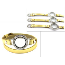 30mm Silver Diamant Round Watch Locket Gold Leather Bracelet