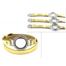 30mm Prata Diamant Round Assista Relógio Pulseira De Couro De Ouro