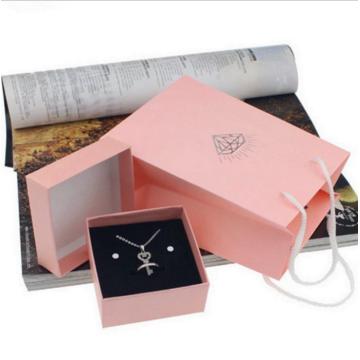 Caixas de jóias de papelão rosa para colares