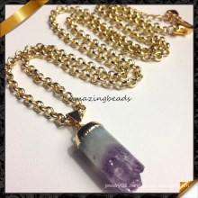 New Style Amethyst Point Pendant Necklace, Fashion Beaded Jewelry Necklace (FN070)
