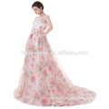 2017 Latest Design Gorgeous Flower Printed Pink Chiffon Puffy Long Tail Ball Gown Alibaba Wedding Dress