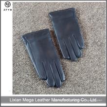 Kinder schwarze Farbe Winter Leder Handschuhe Fabrik